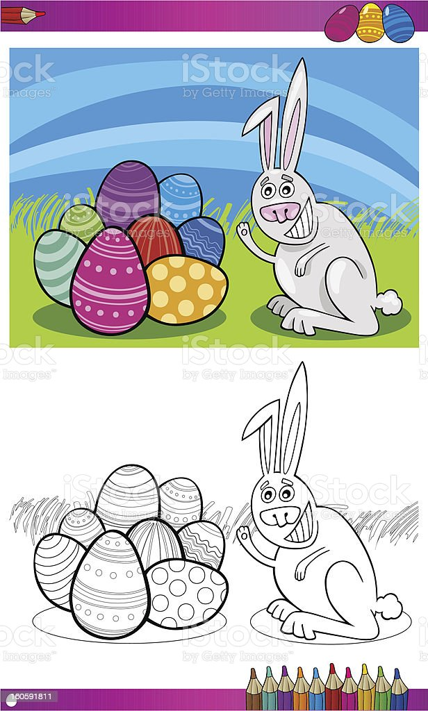 easter bunny cartoon for coloring royalty-free stock vector art