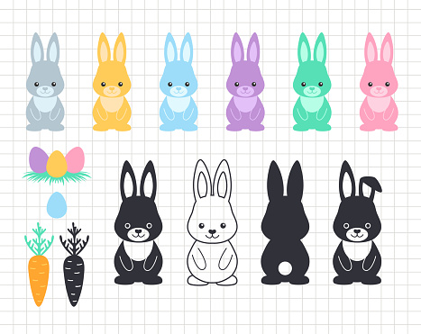 Easter bunny clip art. Rabbit with eggs and carrots. Cute funny animal. Silhouette vector flat illustration. Cutting file. Suitable for cutting software. Cricut, Silhouette