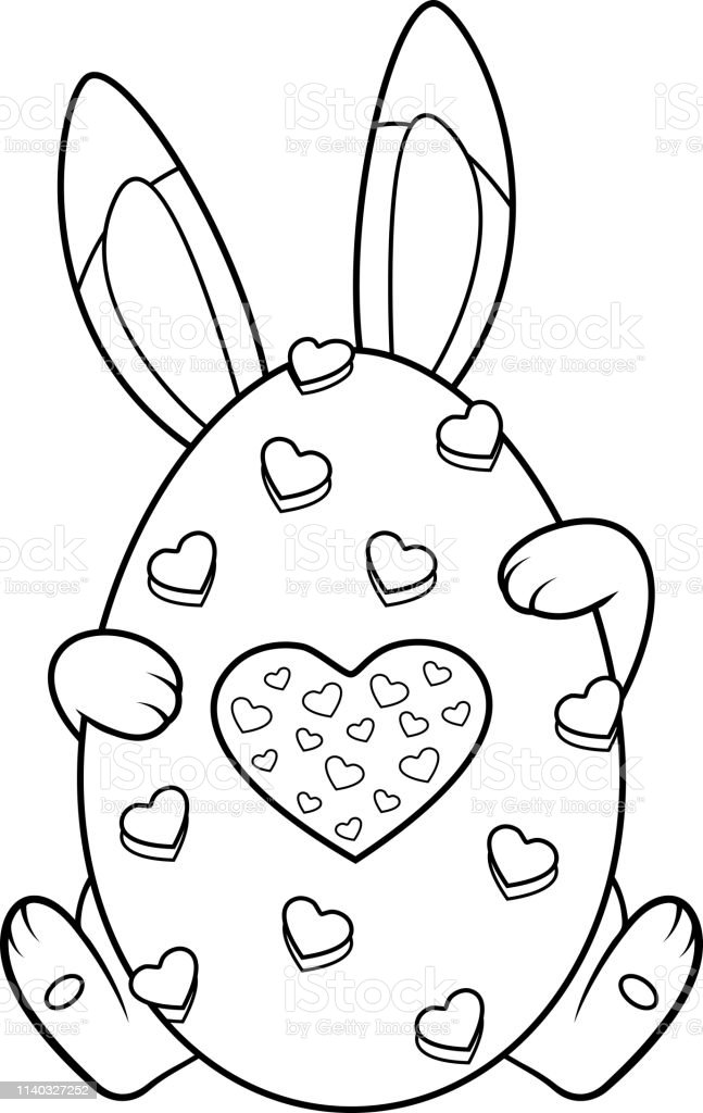 Easter Bunny Coloring Page Stock Illustration - Download Image Now - IStock