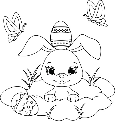 Easter Bunny Coloring Page Stock Illustration Download Image Now Istock