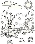 Great illustration of two bunnies looking for Easter Eggs as a coloring book page. Perfect for an Easter coloring page. EPS and JPEG files included. Be sure to view my other illustrations, thanks!
