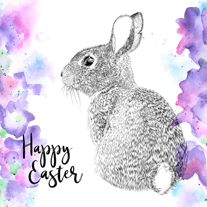 Easter Bunny Design Drawn in Ink and Abstract Watercolor Flowers, Vector EPS10 Illustration