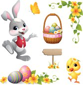 - bunny and chick with easter design elements