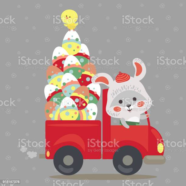 Easter bunny drive car with truck decorated eggs hunter cute white vector id915147376?b=1&k=6&m=915147376&s=612x612&h=ysqxjhdjqev1eprcofxxtjej9bfe45spcglrz dztek=