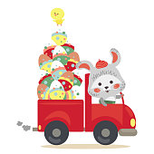 Easter bunny drive car with truck full of decorated eggs, hunter cute white rabbit auto driver , happy holiday vector greeting card, spring hare hunting egg isolated illustration.