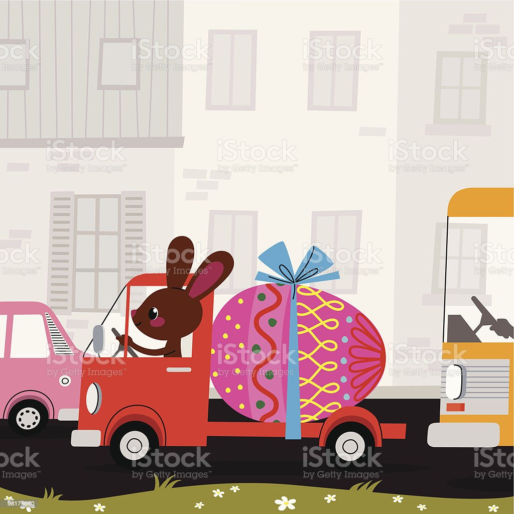 Easter Bunny, Egg and Lorry. royalty-free easter bunny egg and lorry stock vector art & more images of animal egg