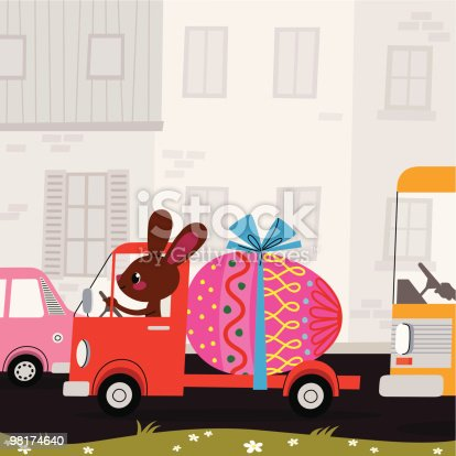 istock Easter Bunny, Egg and Lorry. 98174640