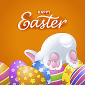 Enjoy the egg hunt game with bunny on the date of Easter party