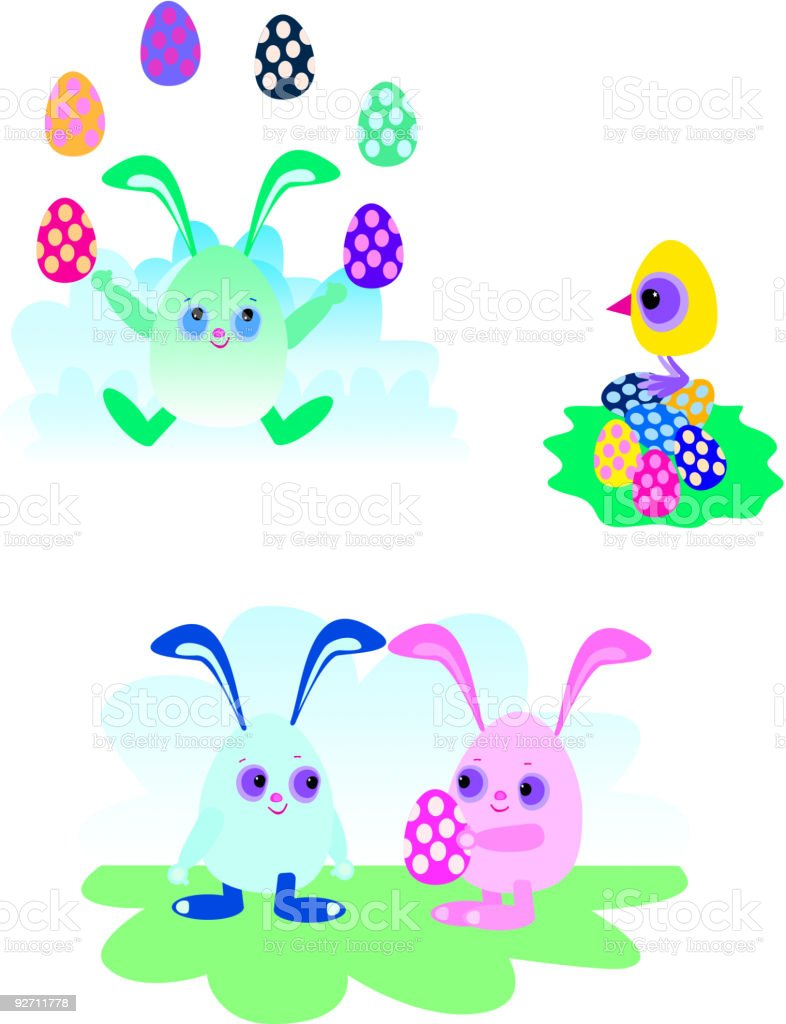 Easter Bunny, Eggs and Chick royalty-free stock vector art