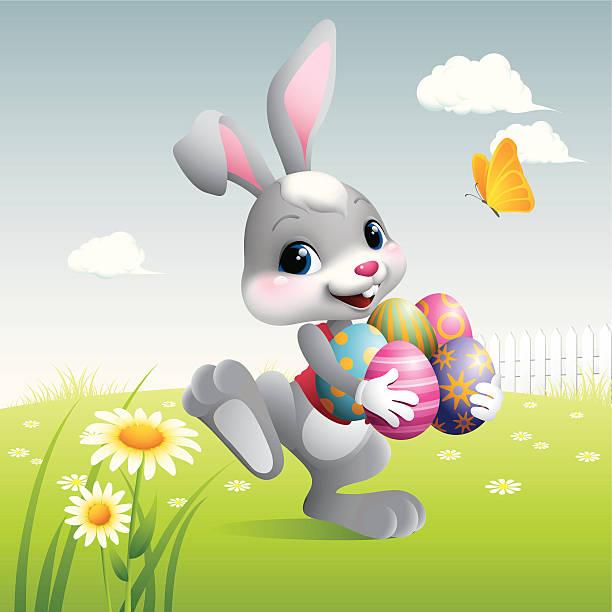 osterhase mit eier - hase stock-grafiken, -clipart, -cartoons und -symbole