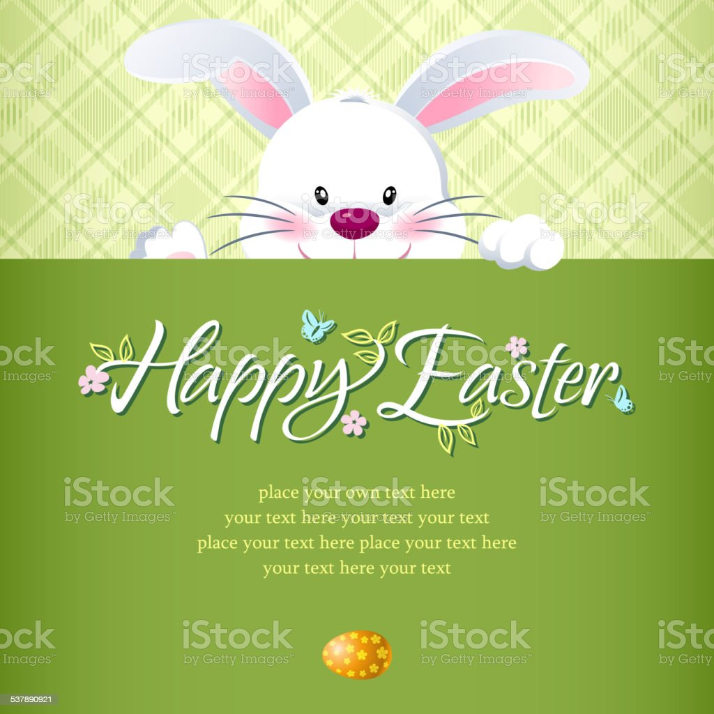 Easter Bunny Hiding Behind the Notice vector art illustration