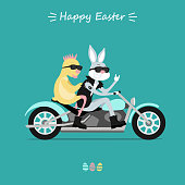 Easter Bunny hipster and  chick rocker riding on motorcycle. Inscription Happy Easter. Vector illustration
