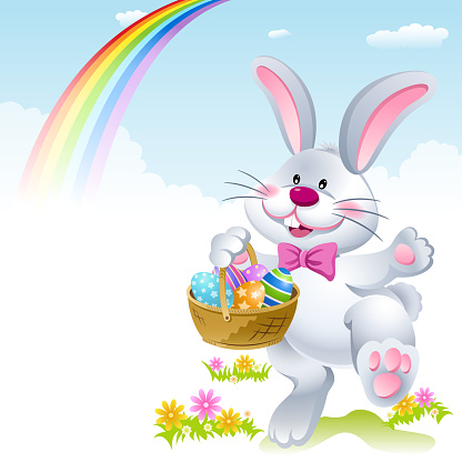 Easter Bunny Holding a Basket of Eggs