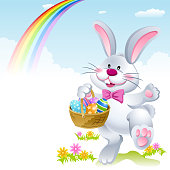 Easter bunny holding a basket of eggs. EPS10.
