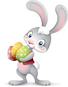 cartoon illustration of cute easter bunny holding pile of eggs