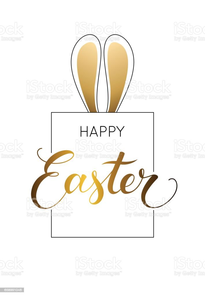 Easter bunny illustration with 'Happy easter' text. royalty-free easter bunny illustration with happy easter text stock vector art & more images of april