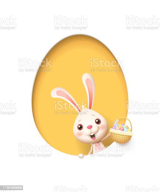 Easter bunny in a egg shaped yellow hole with a basket filled with vector id1132595858?b=1&k=6&m=1132595858&s=612x612&h=1 ntlpnvfv4zzdb0cjegaf1guhf840z4pxnyamozm8q=