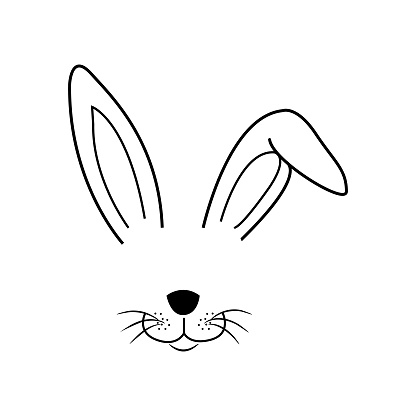 Easter bunny in beautiful style on white background, hand drawn face of bunny. Greeting card with Happy Easter writing. Ears and tiny muzzle with whiskers.
