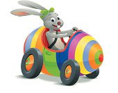 Vector illustration of an easter bunny in a colorful easteregg-car. Includes AI8-EPS, AI8, PDF and large PNG and JPG (40 cm wide 300 dpi). No transparencies. Layered file. (Shadow on the ground, Egg, Wheels, Bunny Body, Bunny Head)