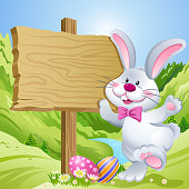 Easter bunny and signpost