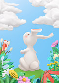 Easter Bunny in the meadow. Spring story. 3d vector greeting card