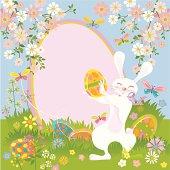 Funny Easter Bunny Invitation. Happy white Bunny. Vector.