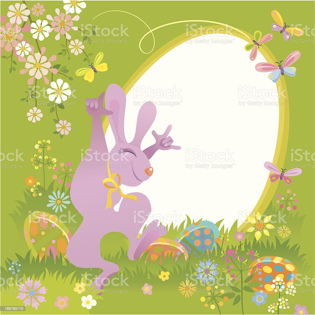 Easter Bunny Invitation vector art illustration