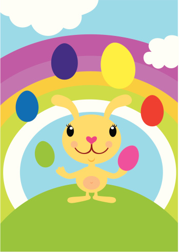 Easter Bunny Juggling Eggs