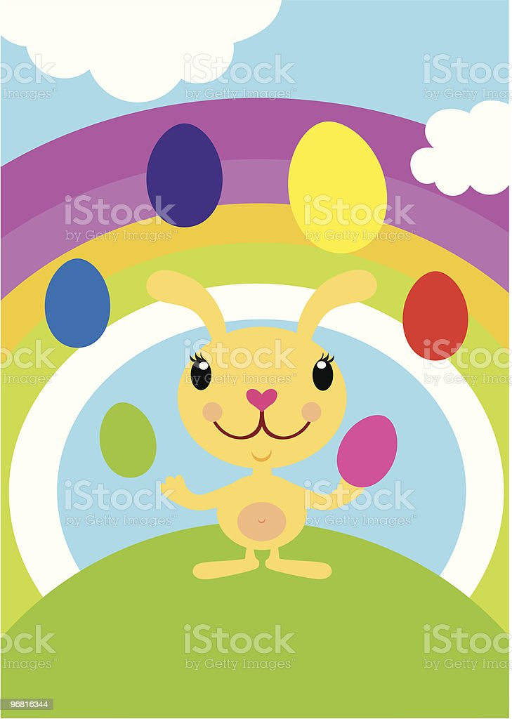 Easter Bunny Juggling Eggs vector art illustration