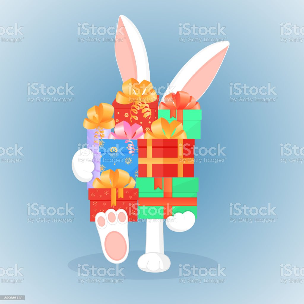 Easter Bunny Keeps A Big Mountain Of Gifts The Concept Of The Sale ...