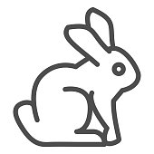Easter bunny line icon. Holiday decoration rabbit silhouette outline style pictogram on white background. Happy spring holiday signs for mobile concept and web design. Vector graphics