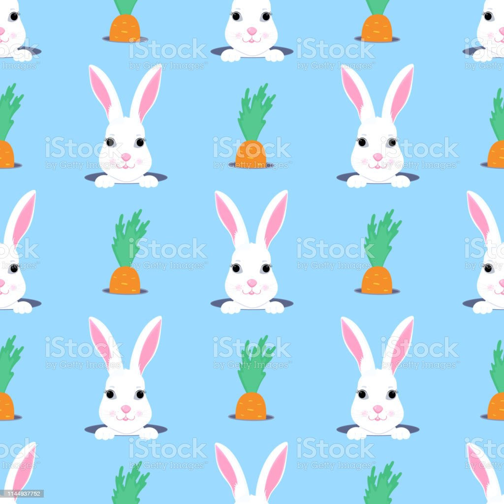 Easter bunny looks out of the hole. Rabbit and carrot child seamless...