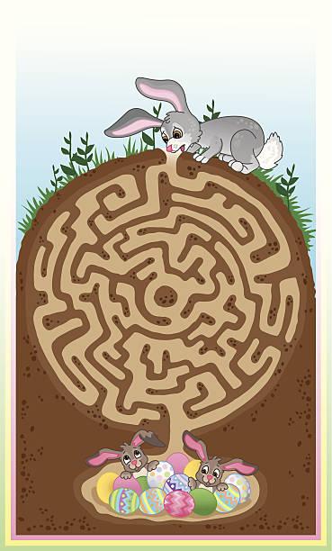 easter bunny maze für kinder! - kaninchenbau stock-grafiken, -clipart, -cartoons und -symbole