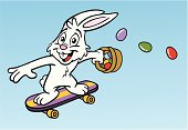 Great illustration of an Easter Bunny on a skateboard. Perfect for the Easter season. EPS and JPEG files included. Be sure to view my other Easter illustrations, thanks!