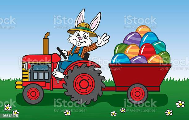 Easter Bunny On Tractor-vektorgrafik och fler bilder på Alternativ