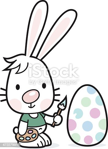 Easter Bunny painted an Egg