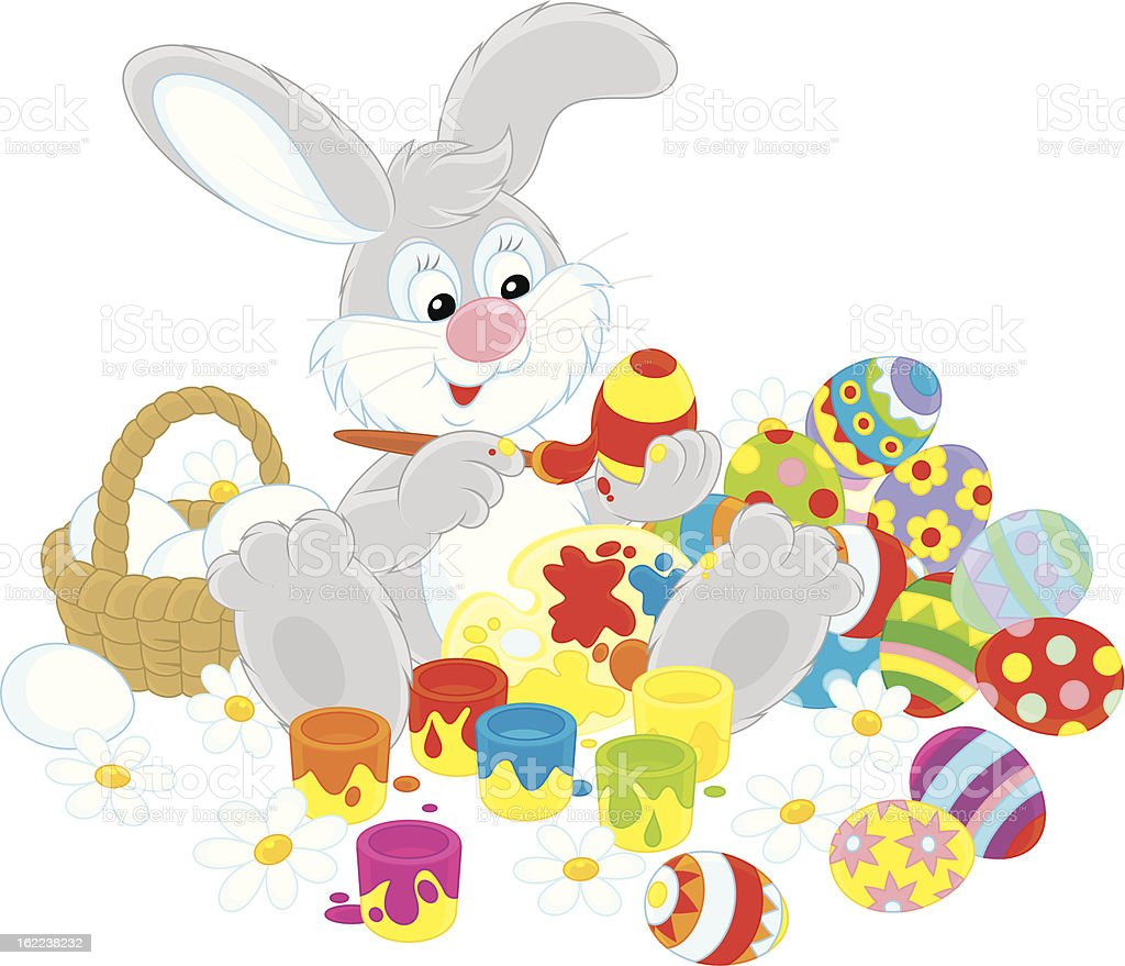 Easter Bunny painter royalty-free stock vector art