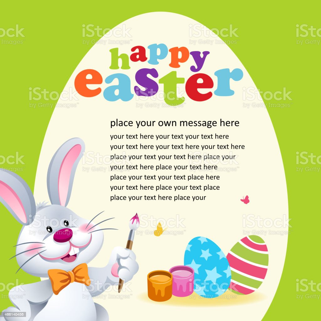 Easter Bunny Painting Easter Egg Invitation vector art illustration