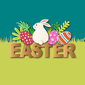 Join the Easter Egg Hunt Party with paper craft of sitting bunny, Easter eggs, leaves and gold colored typography on grass background