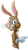 Cartoon Easter bunny rabbit pointing