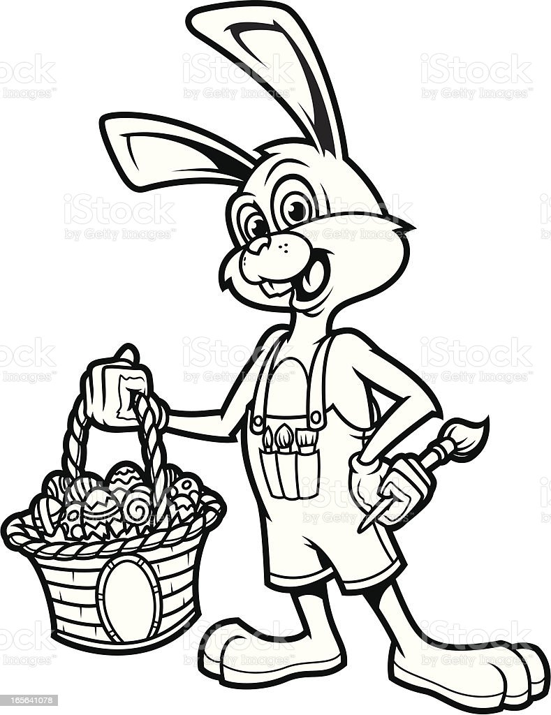 Easter Bunny Rabbit B&W vector art illustration