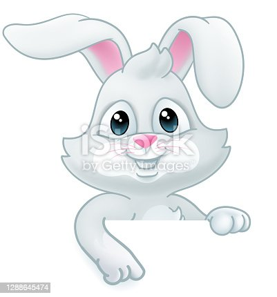 istock Easter Bunny Rabbit Cartoon Sign 1288645474