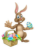 Easter bunny rabbit cartoon character holding a chocolate egg with a basket hamper
