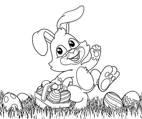 Easter Bunny Rabbit Eggs Basket Background Cartoon
