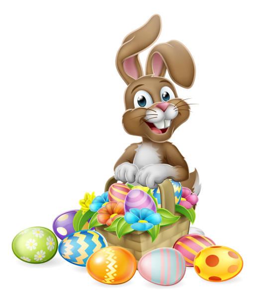 osterhase kaninchen eier jagd korb cartoon - hase stock-grafiken, -clipart, -cartoons und -symbole