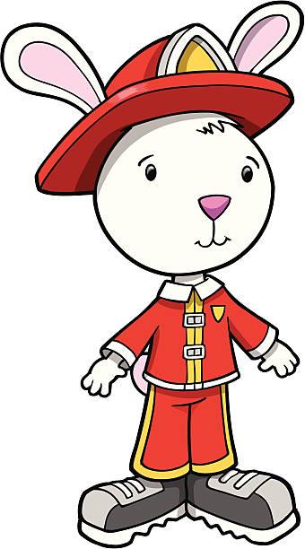 Easter Bunny Rabbit Fireman vector art illustration