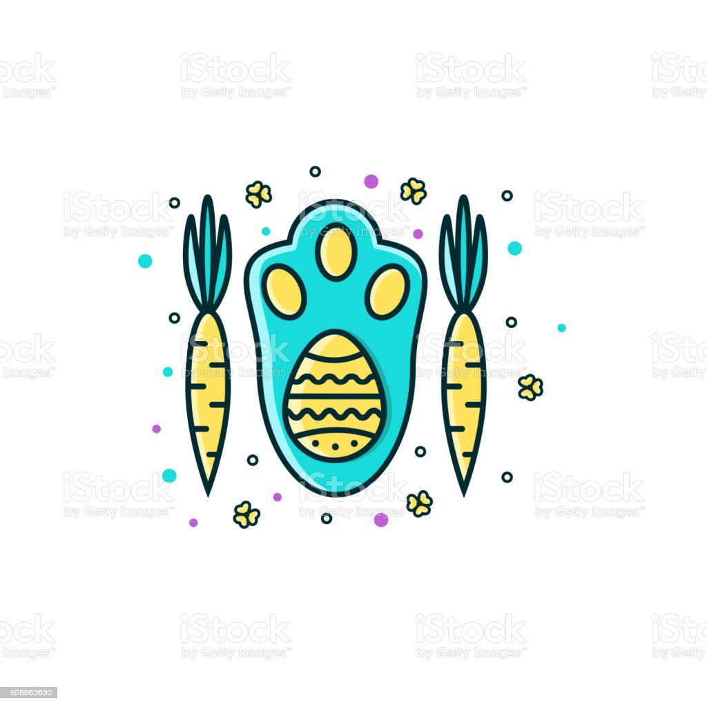 Easter bunny rabbit hare paw with egg symbol and carrots flat easter bunny rabbit hare paw with egg symbol and carrots flat color line buycottarizona Images