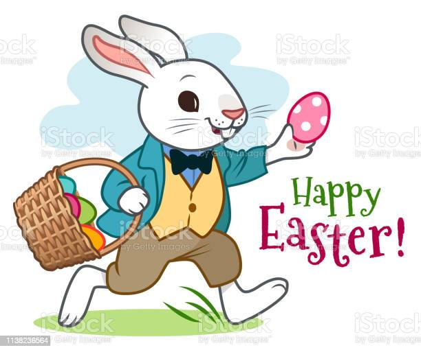 Easter bunny rabbit in jacket vest and pants happily running along vector id1138236564?b=1&k=6&m=1138236564&s=612x612&h=cmovbm1s6vcrvquwolbhlzxhsrfkt2x xr fiwsw5pe=