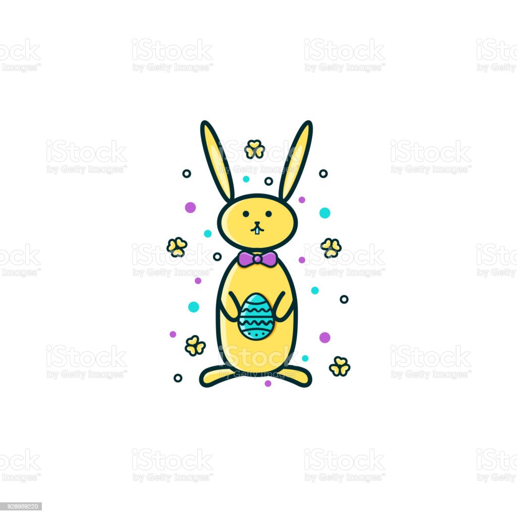 Easter Bunny Rabbit Or Hare With Egg Symbols In Its Paws Flat Color