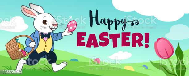 Easter bunny rabbit running in field carrying basket full of candy vector id1138236580?b=1&k=6&m=1138236580&s=612x612&h=m60qlehcsyazzha8pzhed5iyppigxgeljyyufu8 8dw=